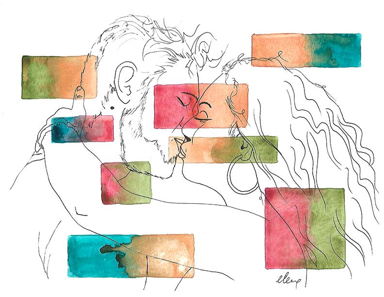 Peinture : Illustration de deux amoureux, aquarelle